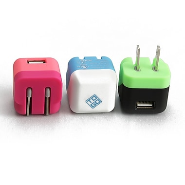 BlueDiamond ToGo USB Folding Wall Chargers, Green/Black, Pink/Coral, White/Light Blue, 3/Pack