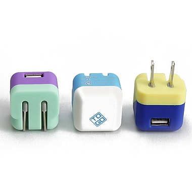 BlueDiamond ToGo USB Folding Wall Chargers, White/Light Blue, Purple/Aqua, Yellow/Blue, 3/Pack