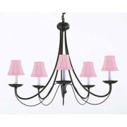 Harrison Lane Empress 5-Light Shaded Chandelier; Pink