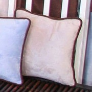 Brandee Danielle Blue Chocolate Minky Polka Dot Throw Pillow; Tan