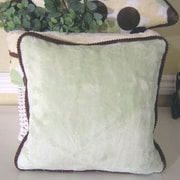 Brandee Danielle Blue Chocolate Minky Polka Dot Throw Pillow; Green
