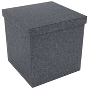 "Atlantic 17"" X 17"" Ottoman With Wooden Feet (dark Gray)"