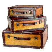 Quickway Imports Old Vintage Suitcase Trunk; Medium
