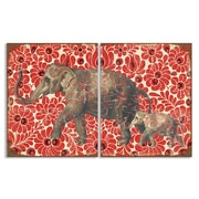 Stupell Industries Mom and Baby Elephant Red Floral Print 2 Piece Graphic Art on Wrapped Canvas Set
