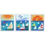 The Kids Room You Are My Sunshine and Sailboats Triptych 3 Piece Painting Print Wall Plaque Set