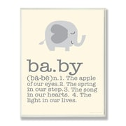 Stupell Industries The Kids Room Gray Elephant Baby Typography  Wall Plaque