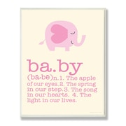 Stupell Industries The Kids Room Pink Elephant Baby Typography  Wall Plaque