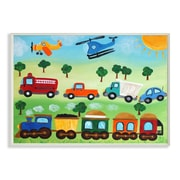 Stupell Industries The Kids Room Trucks, Trains, and Planes by Njoy Art Graphic Art Plaque