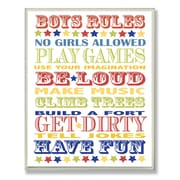 Stupell Industries The Kids Room Boys Rules Typography Wall Plaque