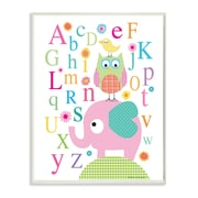 Stupell Industries The Kids Room Elephant, Owl and Bird ABC's Typography Wall Plaque