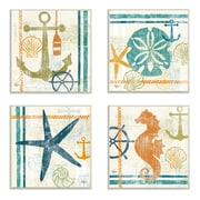 Stupell Industries Seahorse, Sand Dollar, Anchor, and Starfish Beach Theme Wall Plaque (Set of 4)