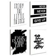 Stupell Industries lulusimonSTUDIO Inspirational 4 Piece Textual Art Set in Black & White