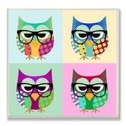 Stupell Industries Owls Wearing Eyeglasses Graphic Art Plaque