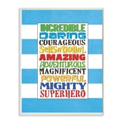 Stupell Industries The Kids Room Superhero Words Blue Stripe Typography Wall Plaque