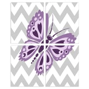 Stupell Industries The Kids Room Purple Butterfly with Gray Chevron 4 pc  Wall Plaque Set