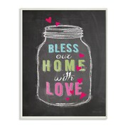 Stupell Industries Bless Our Home with Love Chalkboard Look Typography Wall Plaque