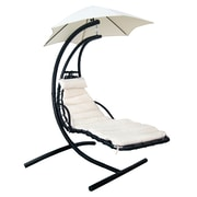 Blue Wave Island Retreat Chaise Lounge with Cushion; Canvas Beige
