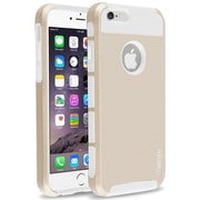 Insten® Hard Dual Layer Plastic Silicone Case for Apple iPhone 6 Gold/White (1939407)