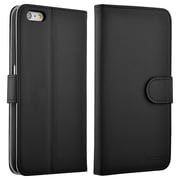 Insten® Book-Style Leather Fabric Case with Stand, Card Slot and Photo Display for Apple iPhone 6/6S Plus, Black