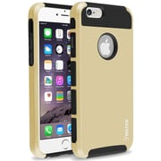 Insten® Hard Hybrid Plastic Silicone Cover Case for Use with Apple iPhone 6, Gold/Black (1939406)