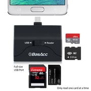 BasAcc® Universal OTG Card Reader 2064765 Supports USB Flash Drive Micro SD for Smartphones and Tablets