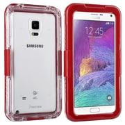 Insten® Hard Plastic Waterproof Case Lanyard for Use with Samsung Galaxy Note 4, Clear/Red (2062494)