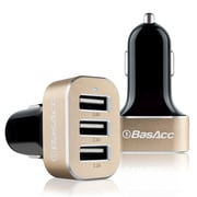 BasAcc® 6.6A 3 Port USB Car Charger for Smartphones and Tablets, Black