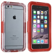 Insten® Hard Plastic Waterproof Cover Case Lanyard for Apple iPhone 6 Plus Clear/Red (2062489)