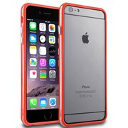 Insten® Aluminum Button Gel Bumper for Apple iPhone 6 Plus Red/Clear (1955551)