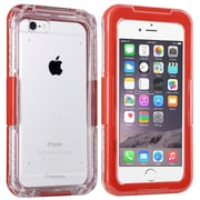 Insten® Hard Plastic Waterproof Cover Case Lanyard for Use with Apple iPhone 6, Clear/Red (2062485)