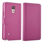 Insten® Leather Fabric Book-Style Case with Stand and Card Holder for Samsung Galaxy Note 4, Hot Pink (1993579)