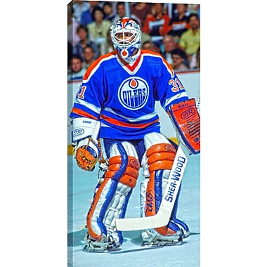 Fuhr G Unsigned HHOF Canvas, Oilers Blue Action -V, 14
