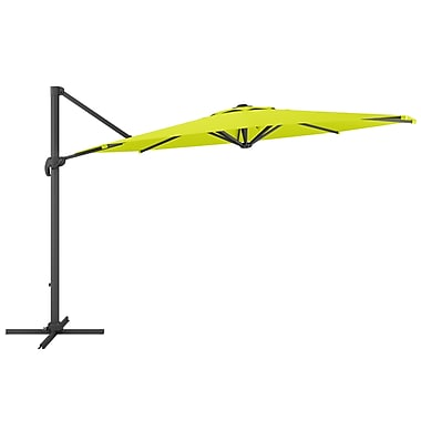 CorLiving PPU-540-U Deluxe Offset Patio Umbrella, Lime Green