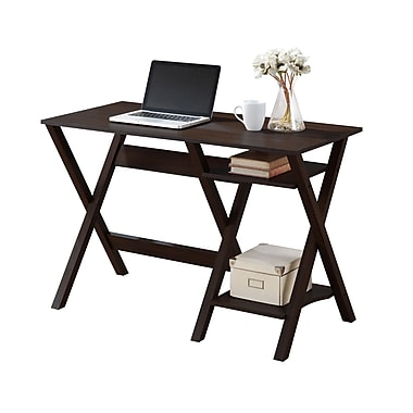 CorLiving WFP-670-D Folio Desk with Two Lower Shelves, Modern Wenge
