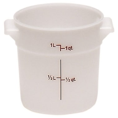 Cambro RFS1-148 Poly Round Storage Container, 1 Quart, White, 12/Pack