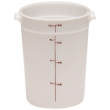 Cambro RFS8-148 Poly Round Storage Container, 8 Quart, White, 12/Pack