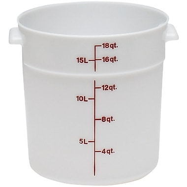 Cambro RFS18-148 Poly Round Storage Container, 18 Quart, White, 6/Pack