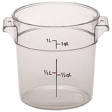 Cambro RFSCW1-135 Camwear Round Storage Container, 1 Quart, Clear, 12/Pack