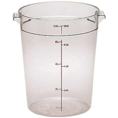 Cambro RFSCW8-135 Camwear Round Storage Container, 8 Quart, Clear, 12/Pack