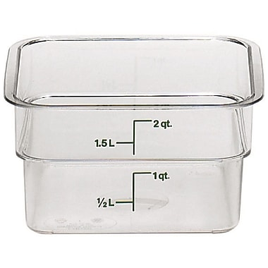 Cambro 2SFSCW-135 Square Food Storage Container 2 Quart, 6/Pack