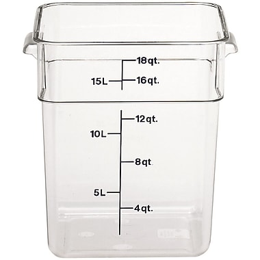 Cambro 18SFSCW-135 Square Food Storage Container 18 Quart, 6/Pack