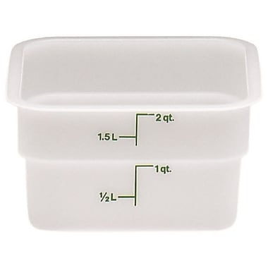 Cambro 2SFSP-148 Square Poly Food Storage Container 2 Quart, 6/Pack
