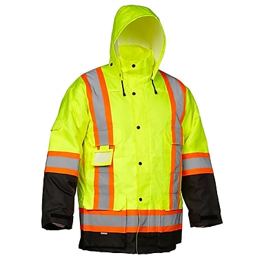 Forcefield Safety Cargo Parka, Lime with Black trim, Size Medium