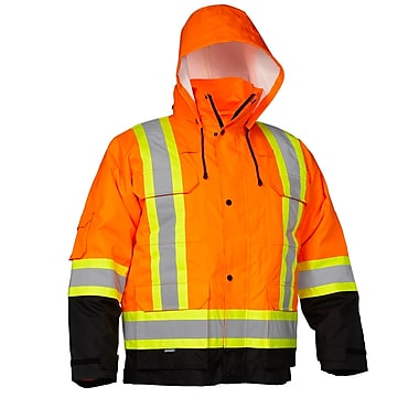 Forcefield 4-In-1 Safety Parka, Orange with Black trim, Size Large