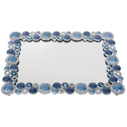 "Naturally by Kingsley Polished Chrome Beauty Mirror 8.25"" x 6.25"", Blue Stone (M-32)"
