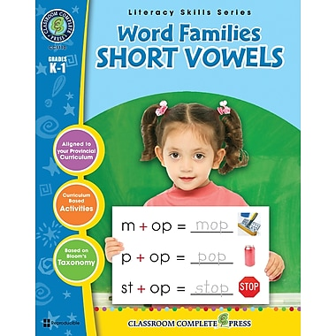 eBook: Word Families - Short Vowels, Grades K-1 (PDF version, 1-User Download), ISBN 978-1-55319-402-6