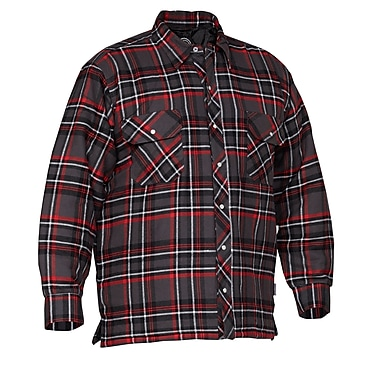 Forcefield Quilted Flannel Shirt, Red, Size Large