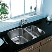 Vigo 30 inch Undermount 70/30 Double Bowl 18 Gauge Stainless Steel Kitchen Sink; No