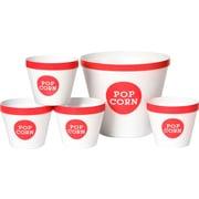 Wabash Valley Farms Trimmed 5 Piece Popcorn Bucket Set; Hot Pink / White