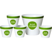 Wabash Valley Farms Trimmed 5 Piece Popcorn Bucket Set; Lime Green / White